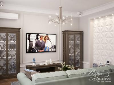 Дизайн большой гостиной в Астане