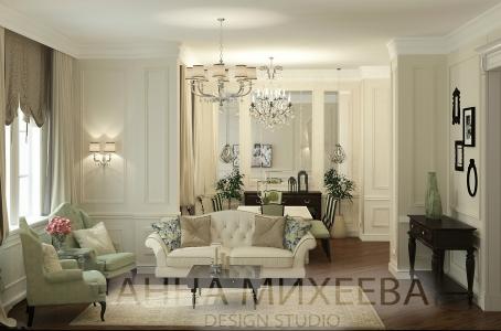 Очень уютная светлая гостиная