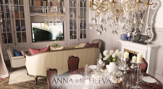 Дизайн интерьера гостиной комнаты.