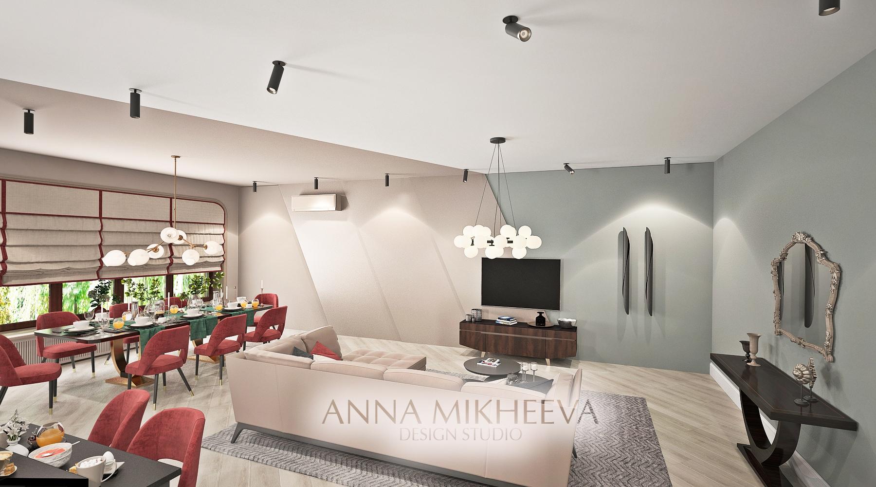 Дизайн гостиной в квартире. В Нур-султане. Астане.