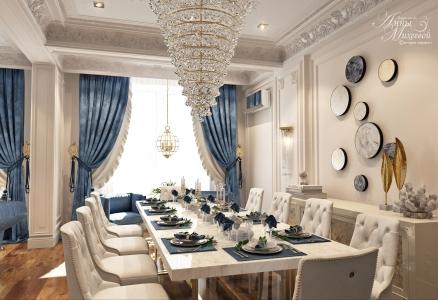 Дизайн гостиной столовой в Астане