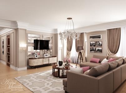 Дизайн гостиной в современном стиле в Астане