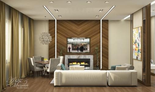 Дизайн гостиной в жк Лондон в Астане