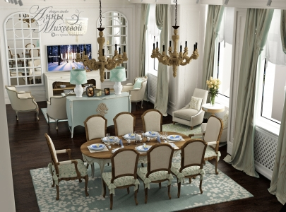 Дизайн гостиной в бирюзовых тонах в Астане