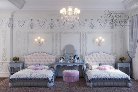 Дизайн интерьера шикарной детской комнаты - спальни в Астане