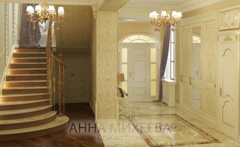 Дизайн холла в классическом стиле в Астане