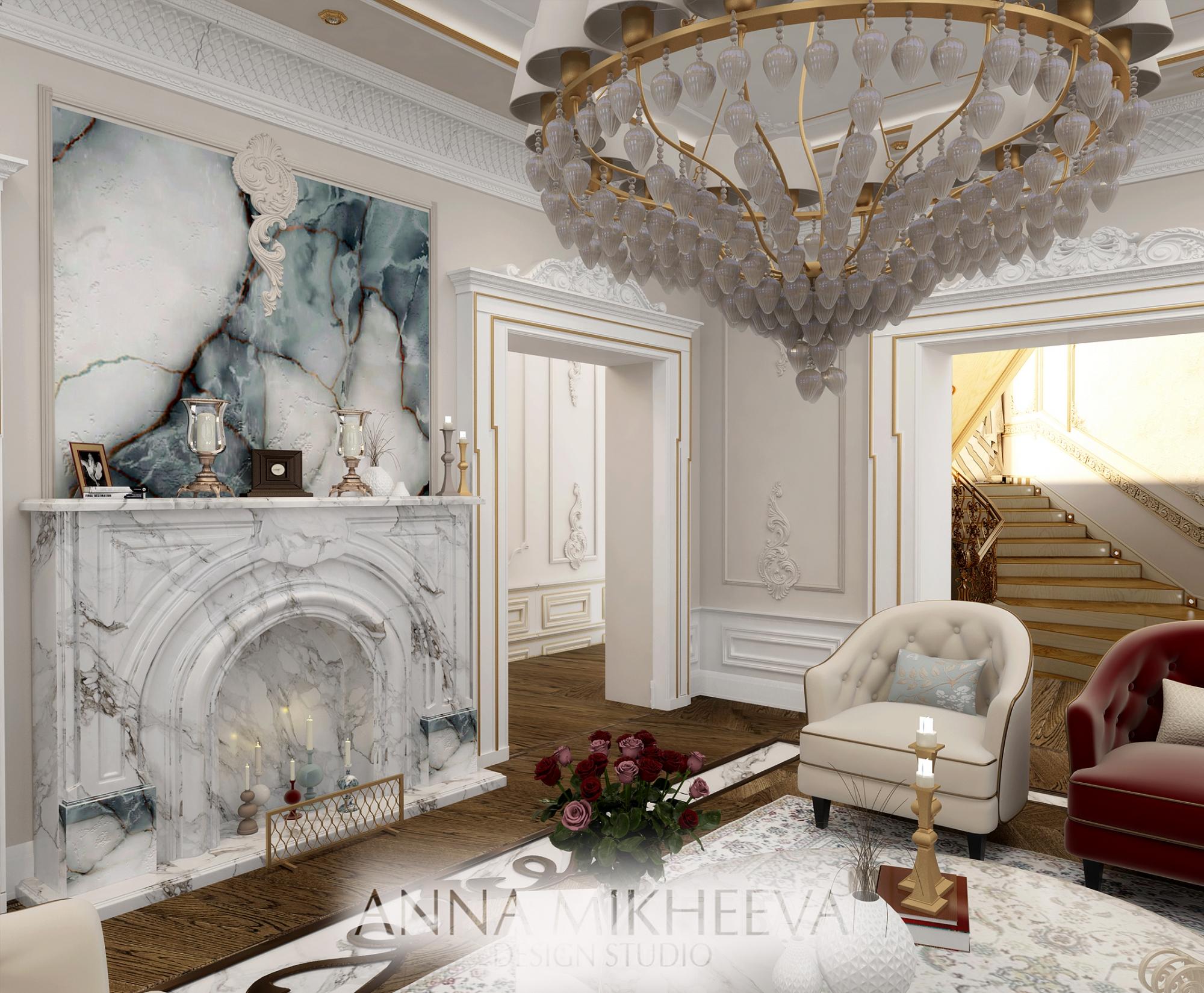Дизайн интерьера гостиной в классическом стиле. В Астане. Фото.