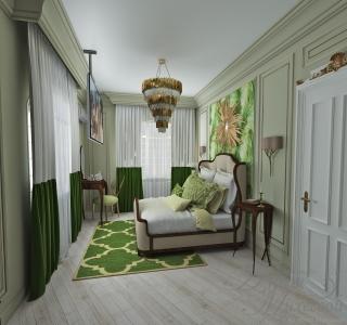 Дизайн узкой спальни в Астане