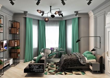 Дизайн угловой спальни в Астане