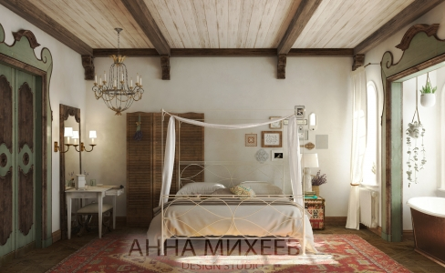 Дизайн спальни в стиле кантри в Астана
