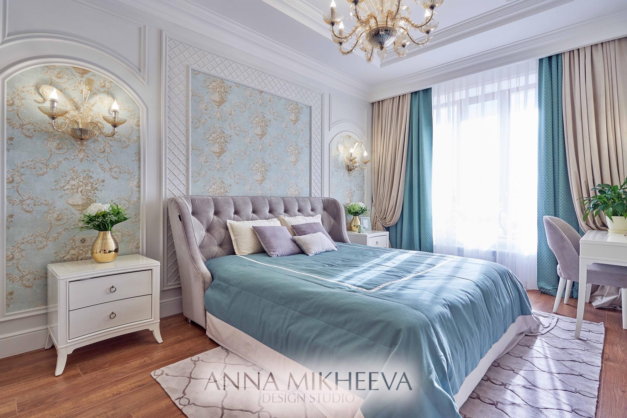 Интерьер спальни современный дизайн. В Астане. Фото.