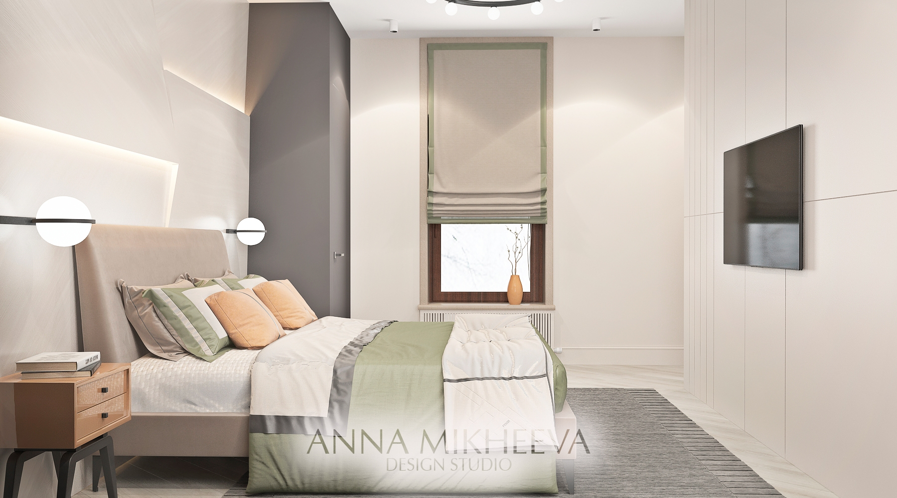 Дизайн спальни в ЖК Саранда. В Нур-султане. Фото.