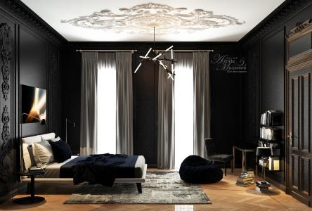 Дизайн темной спальни в Астане