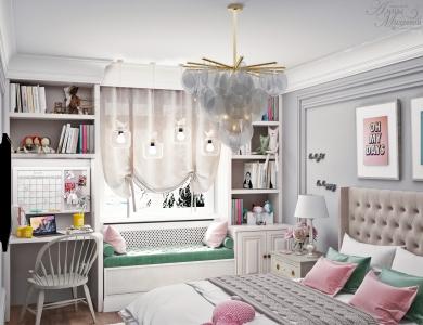 Дизайн спальни для девушки в Астане