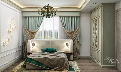 Дизайн квадратной спальни в Астане