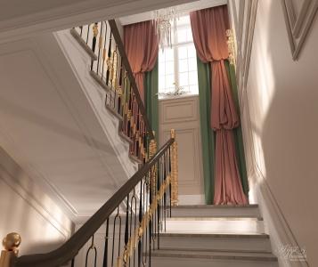 Холл с лестницей и коридоры