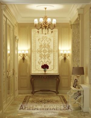 Шикарный дизайн холла в классическом стиле.