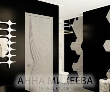 Дизайн черно белой ванной комнаты в Астане
