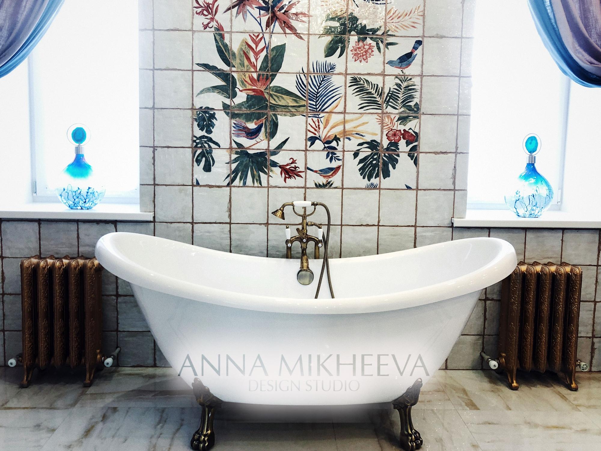 Интерьер ванной комнаты 2018 года. В Астане. Фото.