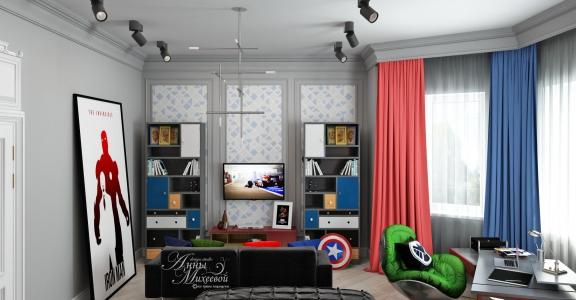 Дизайн детской комнаты супергероя в Астане
