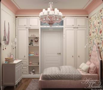 Дизайн розовой спальни для девочки в Астане