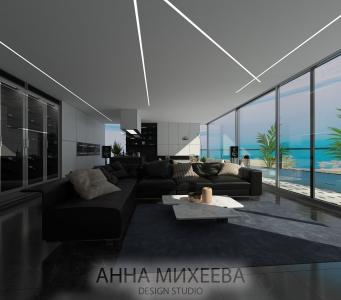 Дизайн кухни с видом на бассейн в Астане
