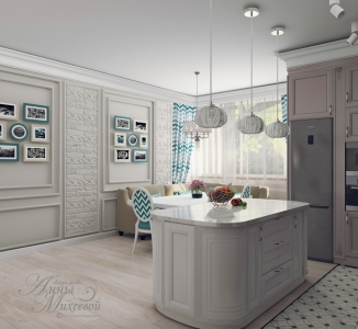 Дизайн кухни с окном в Астане