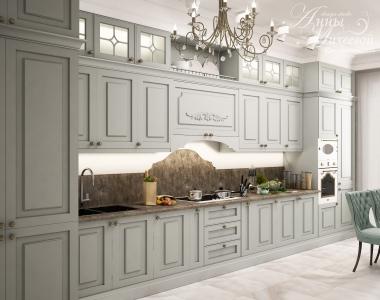 Дизайн совмещенной кухни в Астане