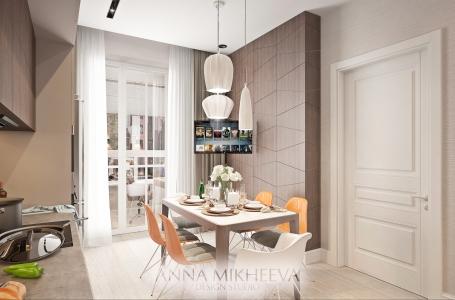 Дизайн интерьера кухни в ЖК Премьера.