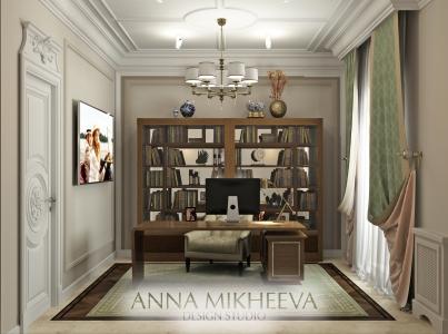 Дизайн кабинета в квартире в Астане